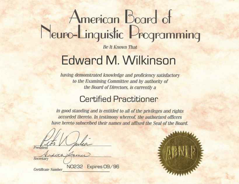 NLP Certified Practitioner ABNLP - Ed Love Coaching